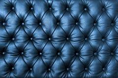 Кожа tuffted синью с кнопками Стоковые Изображения RF