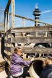 Коза девушки подавая в зоопарке Стоковое фото RF