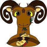 Коза есть сандвич Плоская картина стиля, персонажи из мультфильма, смешные животные, крася на белизне стоковое фото