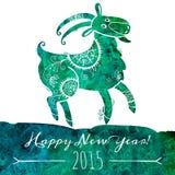 Коза картины акварели Китайский астрологический знак Стоковое Изображение RF