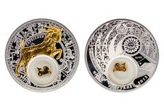 Козерог астрологии серебряной монеты Беларуси стоковые фотографии rf