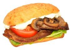 козочка сыра хлеба говядины багета вкусная зажгла toasted стейк шпината сандвича крена лука s Стоковые Фото