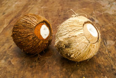 2 кокоса на таблице Стоковые Изображения