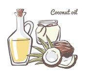 Кокосовое масло иллюстрации вектора Бесплатная Иллюстрация
