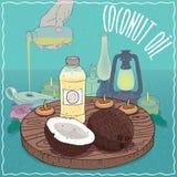 Кокосовое масло используемое как топливо для масляной лампы бесплатная иллюстрация