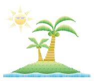 Кокосовые пальмы на острове с солнечностью Стоковые Фотографии RF