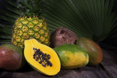 Кокос ананаса мангоов папапайи Стоковые Фотографии RF