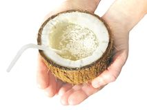 кокос вручает сок Стоковое Изображение