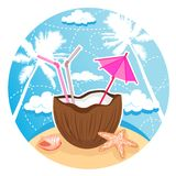 кокос коктеила бесплатная иллюстрация