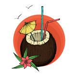 кокос коктеила экзотический также вектор иллюстрации притяжки corel Стоковые Фото