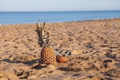 Коктеиль ананаса и кокоса на пляже около морского курорта Стоковое фото RF