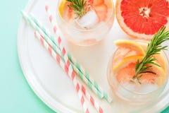 Коктеиль грейпфрута освежения с розмариновым маслом на белой деревянной доске Стоковые Изображения RF