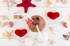Коктеиль кокоса вектор Валентайн иллюстрации дня пар любящий Стоковое фото RF