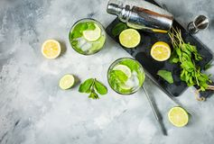 Коктеиль Mojito с известкой и мятой в стекле highball на каменной таблице Питье делая инструменты и ингридиенты для коктеиля Стоковые Изображения
