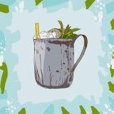Коктеил julep мяты Нарисованная рукой иллюстрация вектора Искусство шипучки бесплатная иллюстрация