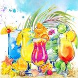 коктеил цветастый Нарисованная рукой иллюстрация акварели плодоовощ коктеиля и тропической предпосылки листьев иллюстрация вектора