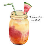Коктеиль акварели экзотический с арбузом Вручите покрашенное питье лета тропическое в опарнике изолированном на белой предпосылке иллюстрация штока