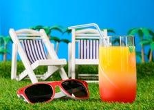 Коктеиль апельсинового сока на траве с солнечными очками Стоковая Фотография