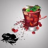 Коктеиль бара лета с ягодами Иллюстрация вектора