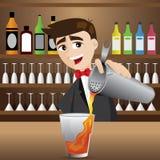 Коктеиль бармена шаржа лить иллюстрация вектора