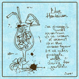 Коктеиль нарисованный рукой голубой гаваиский Стоковые Фотографии RF