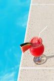 Коктеиль питья smoothie сока арбуза свежий около плавать po Стоковые Изображения RF