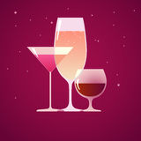Коктеиль, рябиновка и вино Стоковое Фото