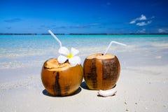 2 коктеиля кокоса на пляже с белым песком рядом с чистой морской водой Каникулы и концепция перемещения Стоковое Изображение