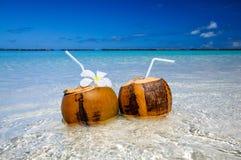 2 коктеиля кокоса на пляже с белым песком рядом с чистой морской водой Каникулы и концепция перемещения Стоковое Изображение RF