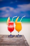 2 коктеиля свежие арбуз и манго дальше Стоковая Фотография