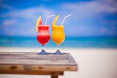 2 коктеиля свежие арбуз и манго дальше Стоковая Фотография RF