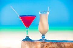 2 коктеиля: colada и клубника pina Стоковые Фотографии RF