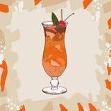 Коктейль зомби с оранжевым гарниром клина и вишни Спиртная классическая нарисованная рука напитка бара Искусство шипучки иллюстрация вектора