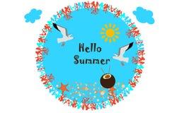 Коктейль на голубой предпосылке, облака кокоса, песок, морская звёзда, кораллы бесплатная иллюстрация