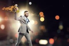 Коктейль Молотоваа бизнесмена бросая Мультимедиа стоковая фотография rf