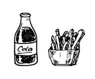 Кола нарисованная рукой и французский doodle фраев Еда и питье эскиза, бесплатная иллюстрация