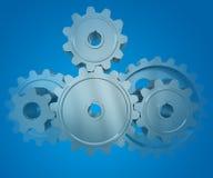 колеса шестерни предпосылки голубые Стоковые Изображения RF