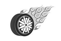 Колесо автомобиля с кабелем пламени бесплатная иллюстрация