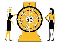Колесо бизнес-леди закручивая бесплатная иллюстрация