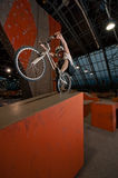 колесо заднего зерна велосипедиста стоящее Стоковое фото RF