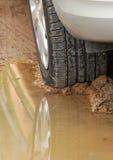 колесо отражения дождя лужицы автомобиля Стоковые Изображения