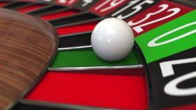Колесо рулетки казино ударяет нул перевод 3d Стоковое Изображение RF