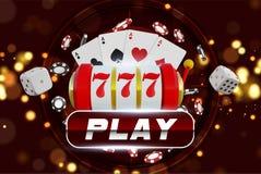 Колесо рулетки предпосылки казино с играть обломоки Онлайн дизайн концепции таблицы покера казино Торговый автомат с удачливым Стоковая Фотография