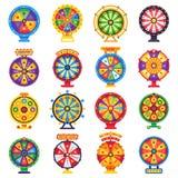 Колесо удачи Поворачивая удачливые колеса игры закрутки, закручивая набор вектора денег изолированный рулеткой плоский бесплатная иллюстрация