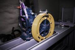 Колесо шкива Реконструкция подъема индустрии closeup Фильтр HDR Стоковые Изображения