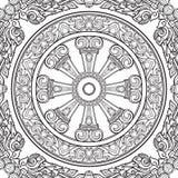 Колесо Dharma, Dharmachakra Символ преподавательств ` s Будды на пути к прозрению, высвобождению от karmic иллюстрация вектора