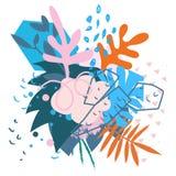Коллаж абстрактных флористических элементов бумажный Стоковое Изображение RF