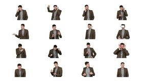 Коллаж видеоизображений человека брюнета изолированных на белизне видеоматериал