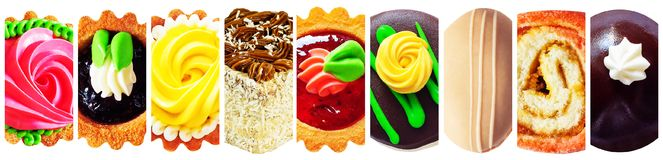 Коллаж вкусных тортов на белой предпосылке Стоковая Фотография