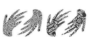 Коллаж вручает значки инструментов обслуживания иллюстрация штока